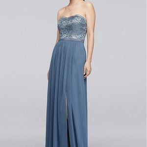 David's Bridal Steel Blue Metallic Lace Dress Sz 2